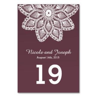 Cordón blanco - número de la tabla del boda de