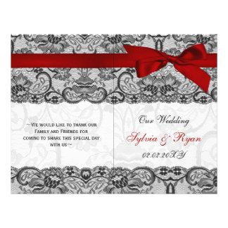 cordón blanco, programa rojo del boda del doblez folleto 21,6 x 28 cm
