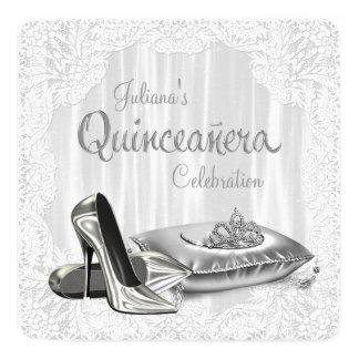 Cordón blanco Quinceanera Invitación 13,3 Cm X 13,3cm