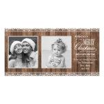 Cordón blanco rústico y navidad de madera tarjeta personal con foto