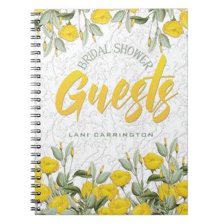 Cordón blanco y libro de visitas nupcial floral de libreta espiral