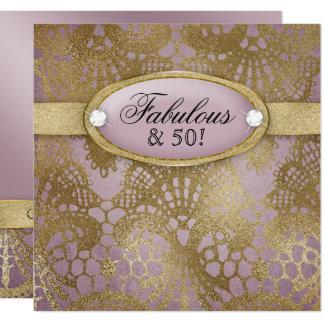 Cordón Bodacious del oro del color de malva de la Invitación 13,3 Cm X 13,3cm