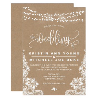 Cordón de Kraft e invitación rústica del boda de