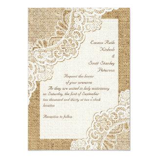 Cordón de la esquina blanco rústico elegante en el invitación 12,7 x 17,8 cm