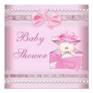 Cordón de la perla del regalo de los rosas bebés invitación 13,3 cm x 13,3cm