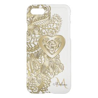 Cordón del oro del monograma y corazón céltico funda para iPhone 7