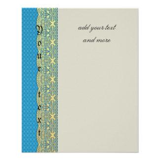 Cordón del oro, turquesa floral, modelo, vintage, folleto 11,4 x 14,2 cm