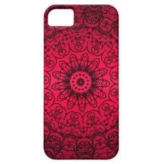 Cordón francés rojo negro femenino elegante de la funda para iPhone SE/5/5s