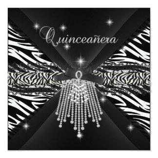 Cordón negro blanco 3 de la cebra de Quinceanera Invitación 13,3 Cm X 13,3cm