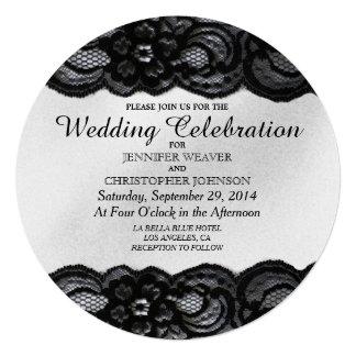 Cordón negro e invitaciones blancas del boda del invitación 13,3 cm x 13,3cm