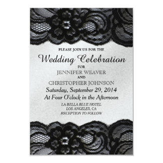 Cordón negro e invitaciones blancas del boda del invitación 8,9 x 12,7 cm