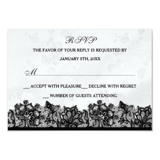Cordón negro y blanco RSVP Invitación 8,9 X 12,7 Cm