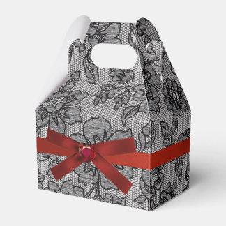 Cordón negro y satén rojo caja para regalos