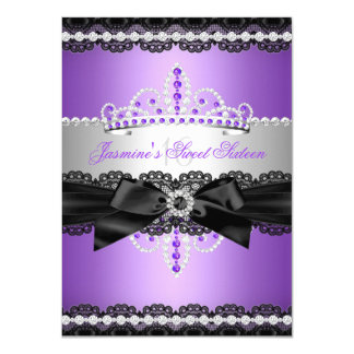 Cordón púrpura del negro de la plata de la fiesta invitación 11,4 x 15,8 cm