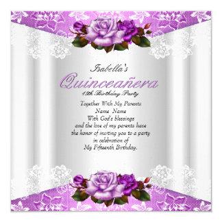 Cordón rosado púrpura blanco de los rosas del invitación 13,3 cm x 13,3cm