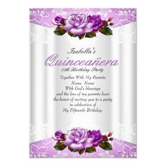 Cordón rosado púrpura blanco de los rosas del invitación 12,7 x 17,8 cm