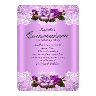 Cordón rosado púrpura de los rosas de la lila del invitación 12,7 x 17,8 cm