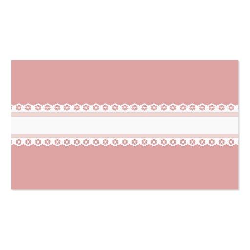 Cordón rosado y blanco decorativo plantillas de tarjetas personales
