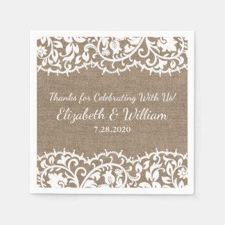 Cordón rústico del vintage del boda, personalizado servilleta de papel