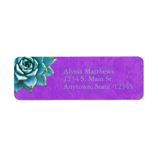Cordón suculento de la púrpura de la acuarela etiqueta de remitente