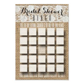 Cordón y arpillera románticos - bingo nupcial de invitación 8,9 x 12,7 cm
