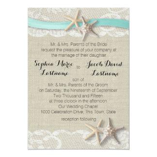 Cordón y cinta de las estrellas de mar invitación 12,7 x 17,8 cm