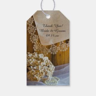 Cordón y flores del país que casan etiquetas del etiquetas para regalos