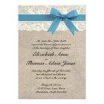 Cordón y invitación blancos del boda de la
