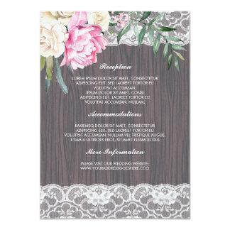 Cordón y tarjeta rosada de la huésped de la invitación 11,4 x 15,8 cm