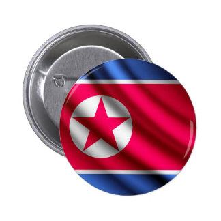 Corea, botón del norte del pinback de la bandera