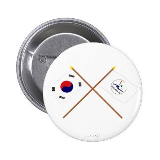 Corea cruzada y Chollabuk-hace las banderas Pins