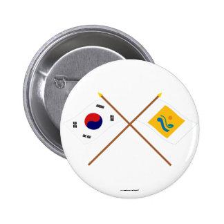 Corea cruzada y Chollanam-hace las banderas Chapa Redonda 5 Cm