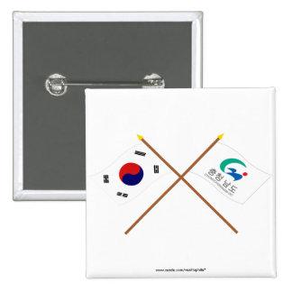 Corea cruzada y Chungchongnam-hace las banderas Chapa Cuadrada 5 Cm