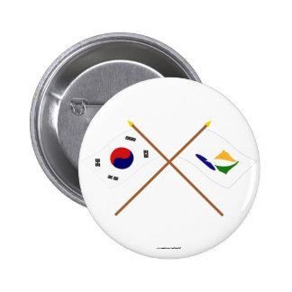 Corea cruzada y Kangwon-hace las banderas Chapa Redonda 5 Cm