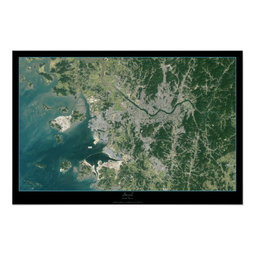 Corea del Sur de Seul, poster por satélite