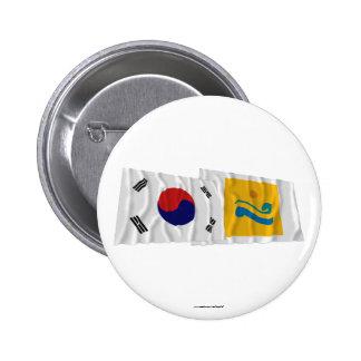Corea y Chollanam-hace las banderas que agitan Chapa Redonda 5 Cm