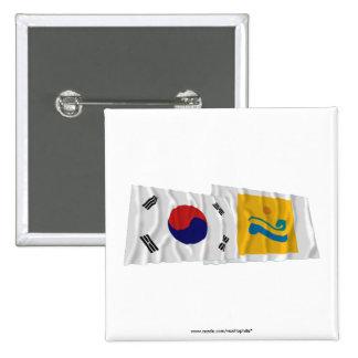 Corea y Chollanam-hace las banderas que agitan Chapa Cuadrada 5 Cm