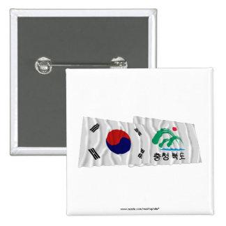 Corea y Chungchongbuk-hace las banderas que agitan Chapa Cuadrada 5 Cm