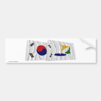 Corea y Kangwon-hace las banderas que agitan Etiqueta De Parachoque