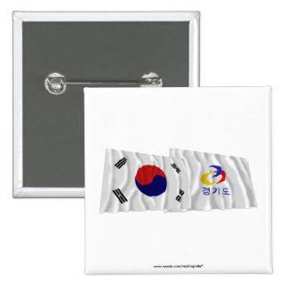 Corea y Kyonggi-hace las banderas que agitan Chapa Cuadrada 5 Cm
