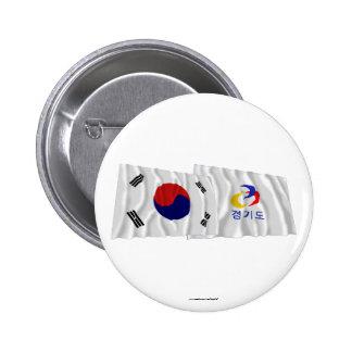 Corea y Kyonggi-hace las banderas que agitan Chapa Redonda De 5 Cm