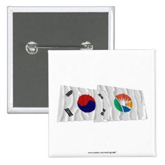 Corea y Kyongsangnam-hace las banderas que agitan Pins