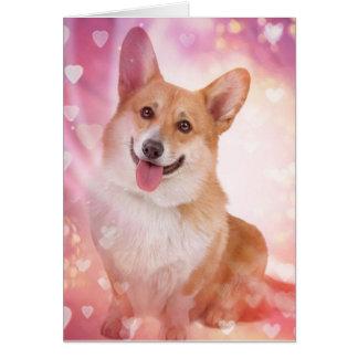 Corgi sonriente con la tarjeta del día de San