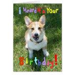 Corgis y tarjeta de cumpleaños de la torta