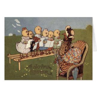 Coro de la gallina del polluelo de Pascua Felicitacion