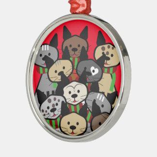 Coro de los gatos del navidad adorno navideño redondo de metal