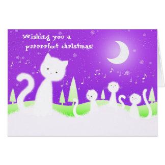 Coro del navidad de los gatos - tarjeta de felicit