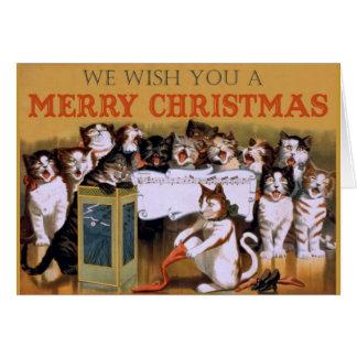 Coro del navidad del gato felicitaciones