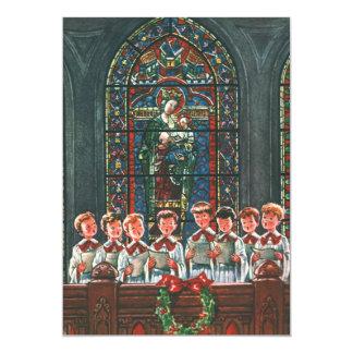 Coro del navidad del vintage en los niños de la invitación 12,7 x 17,8 cm