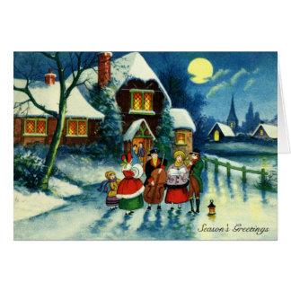 Coro del navidad tarjeta